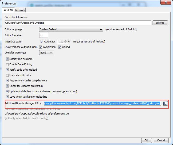 DFRobot-FireBeetle-ESP8266-Review-FireBeetle-Arduino-Preferences
