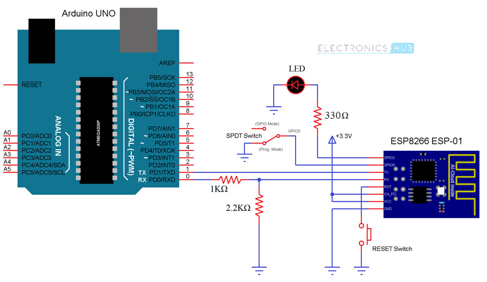 How-to-Control-ESP8266-Over-Internet-Circuit-Diagram