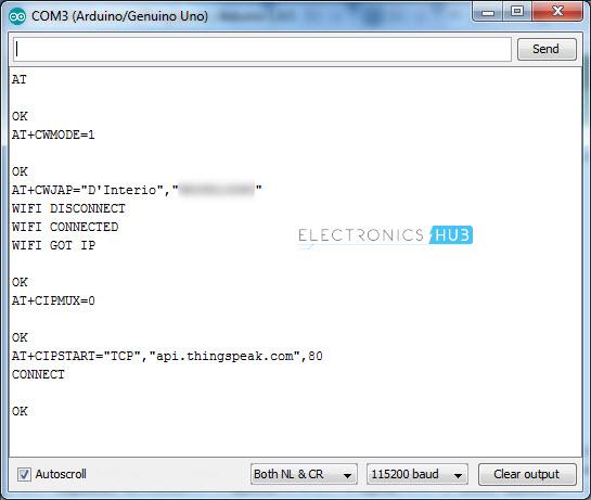 将ESP8266连接到ThingSpeak AT命令启动TCP