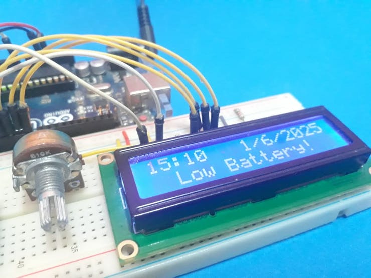 Figure 3 - LCD presenting a message of Low Battery.